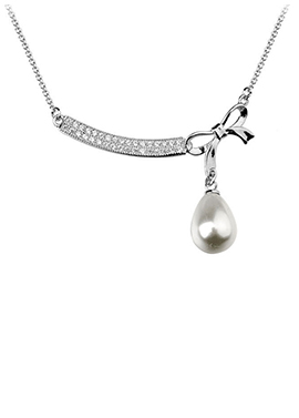 Tied W/ Bow Pearl Drop Necklace - Avery and May